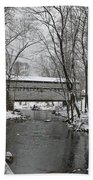 Knox Valley Forge Covered Bridge In Winter Beach Towel