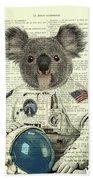 Koala In Space Illustration Beach Towel