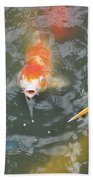 Koi And Great Blue Heron Beach Towel