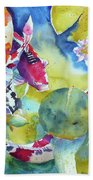 Koi And Two Waterlilies Flowers Beach Towel