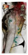 Koi No Yokan - Erotic Drawing, Sexy Tattoo Girl In Thong Biting An Apple Beach Towel