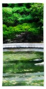 Koi Pond Bridge - Japanese Garden Beach Towel