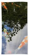 Koi Pond Reflection Beach Towel