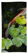 Koi With Lily Pads A Beach Towel