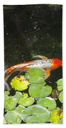 Koi With Lily Pads B Beach Towel