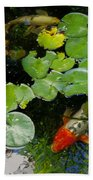 Koi With Lily Pads D Beach Towel