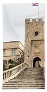 Korcula Old Town Stairs Beach Towel