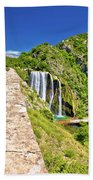 Krcic Waterfall In Knin Scenic View Beach Towel