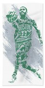 Kyrie Irving Boston Celtics Water Color Art Beach Towel