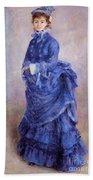 La Parisienne The Blue Lady  Beach Towel by Pierre Auguste Renoir