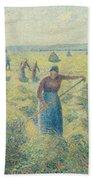 The Harvesting Of Hay Eragny  Beach Towel