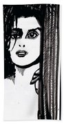 Lady At The Door Beach Towel