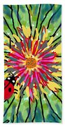 Lady Bug On Flower Beach Towel