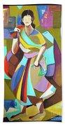 Lady In Mosaic Beach Towel