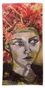 Lady In Red Headdress Beach Sheet
