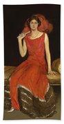 Lady In Red - Mrs Owen Barton Jones Beach Towel