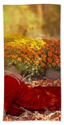 Lady In The Leaves Beach Towel