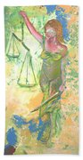 Lady Justice And The Man Beach Towel