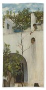 Lady On A Balcony, Capri Beach Towel