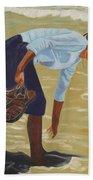 Lady On The Seashore Beach Towel
