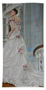 Lady On The Staircase Beach Towel