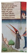 Lady Philosophy Leads Boethius In Flight Into The Sky On The Wings That She Has Given Him Beach Towel