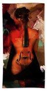 Lady Violin 01 Beach Towel