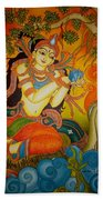 Lady With A Lotus Beach Towel