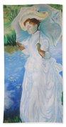Lady With A Parasole  Beach Towel