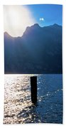 Lago Di Garda At Sunset View Beach Towel