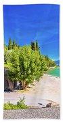 Lago Di Garda Beach In Sirmione View Beach Towel