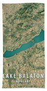 Lake Balaton 3d Render Satellite View Topographic Map Beach Towel