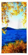 Lake Coeur D'alene Through Golden Leaves Beach Towel
