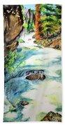 Lake Como Waterfall Beach Towel