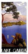 Lake Garda Vintage Poster Restored Beach Towel