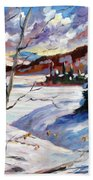 Lake In Winter Beach Towel