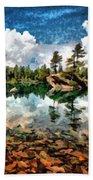 Lake Island View Beach Towel