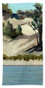 Lake Michigan Dune With Trees And Beach Grass Beach Towel by Michelle Calkins