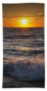 Lake Michigan Sunset With Crashing Shore Waves Beach Towel