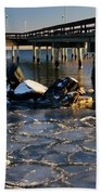 Lake Ontario Sunset At Toronto Center Island Pier In Winter With Beach Towel
