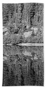 Lake Reflections In Black And White Beach Towel