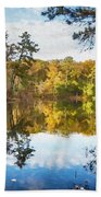 Lake Waterford Fall - Watercolor Fx Beach Towel