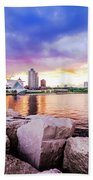 Lakefront Sunset On Rocks Beach Towel