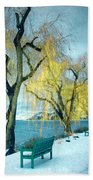 Lakeshore Walkway In Winter Beach Towel