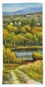 Lakeside Trail In Autumn Beach Towel