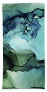 Land And Water Abstract Ink Painting Beach Towel