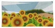 Land Of Sunflowers. Beach Towel