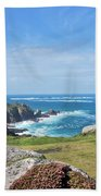 Land's End And Longships Lighthouse Cornwall Beach Towel by Terri Waters