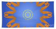 Landscape Abstract Blue, Orange And Yellow Star Beach Towel