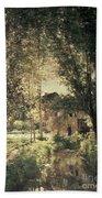 Landscape Beach Towel by Charles Francois Daubigny
